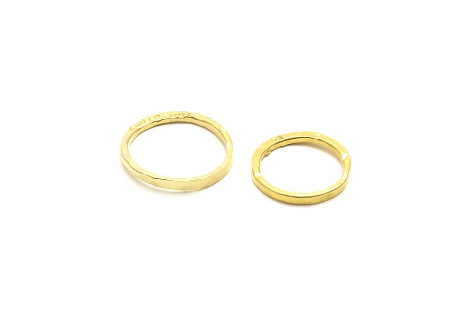 Slim Hand Forged 24K Gold Wedding Rings