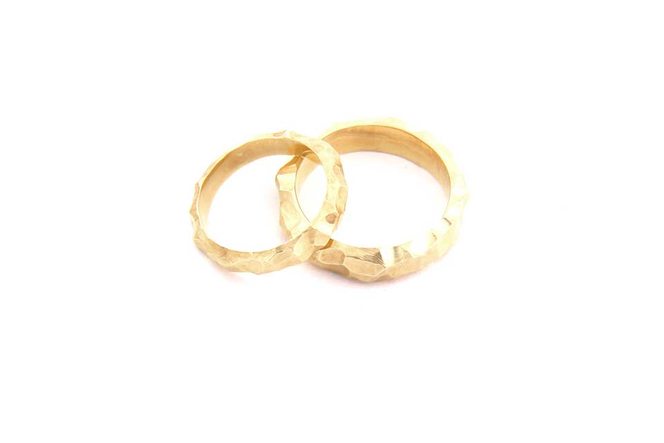 Unique Hand-Carved Gold Wedding Rings