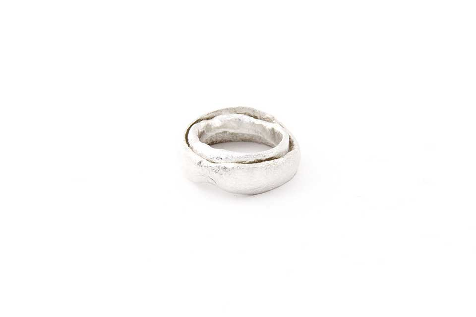 Half Melted Silver Wedding Rings 'Fireproof'