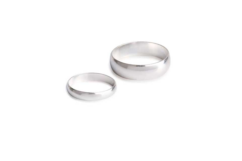Original Silver Wedding Rings 'Fireproof'