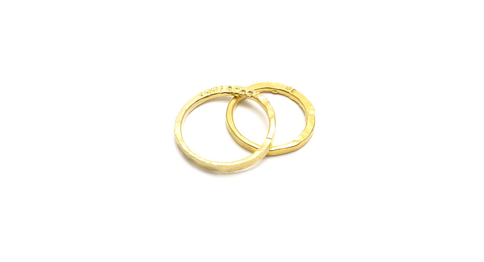 Slim Hand Forged 24K Gold Wedding Rings 'I Do'