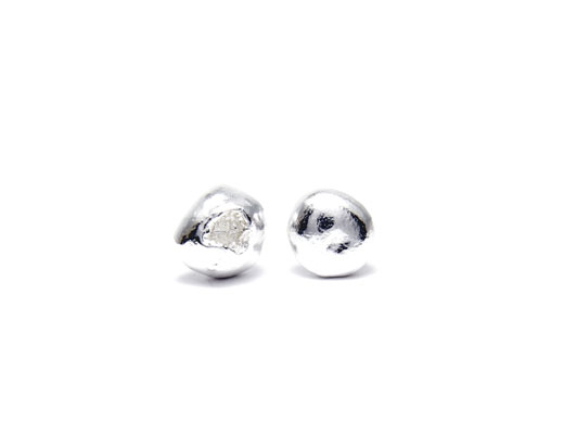 Pure silver nugget earrings (Little Crude) No 3
