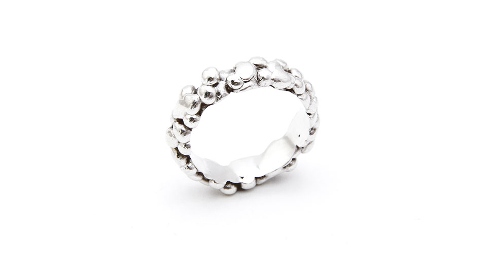 Silver drops ring Goteo