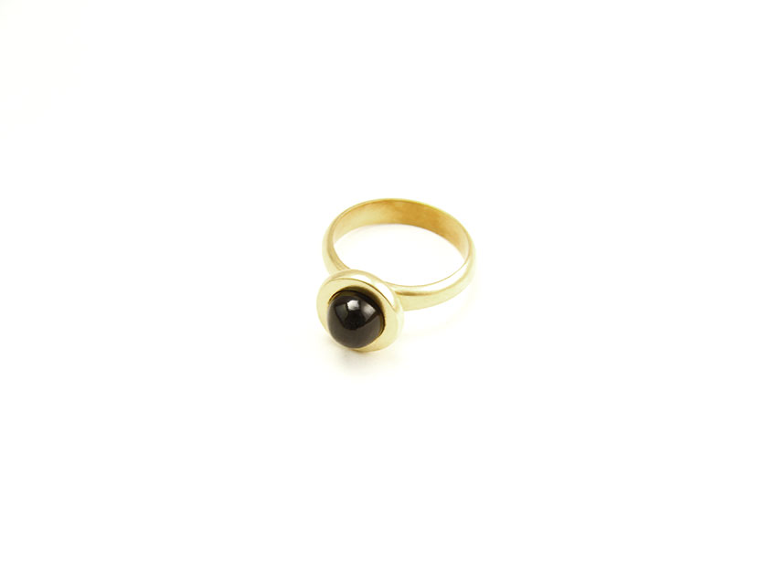 Black diopside custom ring